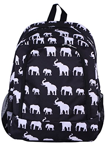 NBN-E-BW-1 Big Backpack Black white elephant Pattern Design Review