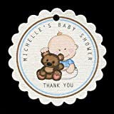Baby Shower Favor Tags, Baby Boy with Bear, Personalized (set of 25)