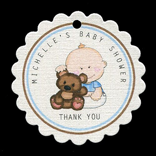 Baby Shower Favor Tags, Baby Boy with Bear, Personalized (set of 25) by Susie Dee's