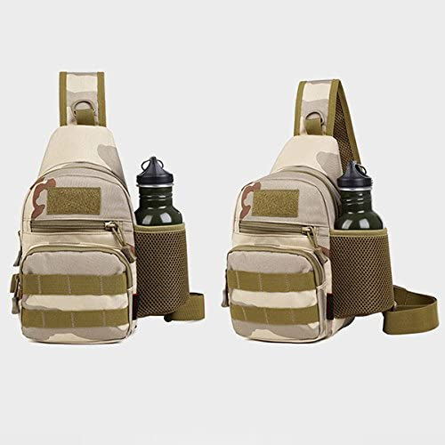 Chest Pack Nylon Casual Shoulder Riding Sports Multipurpose Daypack Sling Chest pack with Kettle Holders Camo