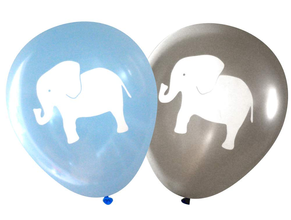 Nerdy Words Elephant Balloons (16 pcs) (Grey & Blue)