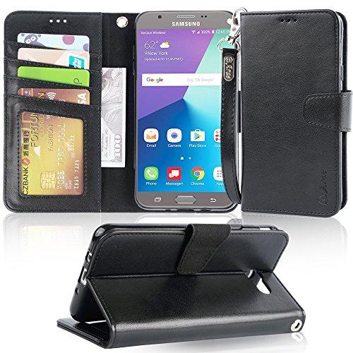 Galaxy J7 V / J7 2017 / J7 Prime / J7 Perx / J7 Sky Pro/Galaxy Halo Case, Arae Samsung Galaxy J7 2017 Wallet Case with Kickstand and Flip Cover, Black