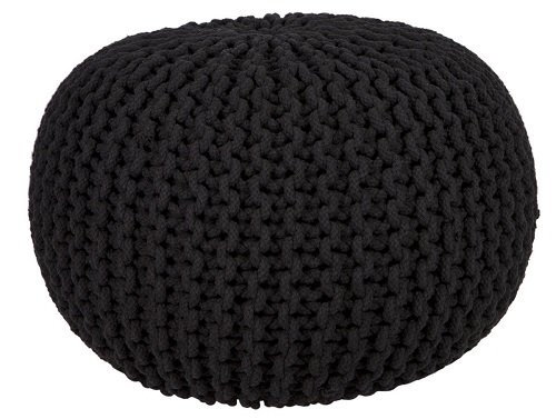 Brown, 50Cm x 50Cm x 30Cm Night Night Large 50cm Round Cotton Knitted Pouffe Ball Foot Stool Braided Cushion Seat Rest