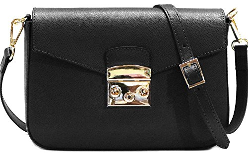 Handbag Sapri Crossbody Saffiano Leather Bag Women's Shoulder in Black Floto twZqwOvx