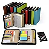 Trycooling Binder Business Zippered 6-ring Portfolio PU Zipper Notebook Woven Pattern with Filler Paper, Pagefinder Ruler, Calculator, Clear PVC Card Bag A6 (Brown)