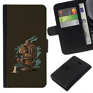 - FRIENDS ART ROBOT FUTURE FOX DOG ANIMAL - - Prima caja de la PU billetera de cuero con ranuras para tarjetas, efectivo desmontable correa para l Funny House FOR Sony Xperia M2