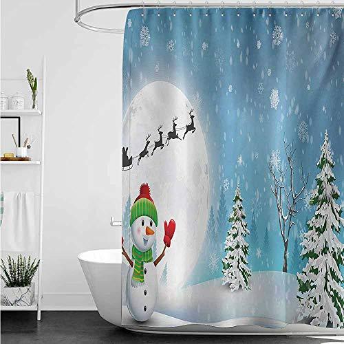 Home Decor Shower Curtain,Christmas Jolly Snowman Under Full Moon Waving to Santa Claus with Reindeer Sleigh Kids,Fabric Shower Curtain Bathroom,W55x84L,White Blue