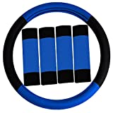 hyundai elantra steering wheel - FH GROUP FH2033 Modernistic Steering Wheel Cover and Seat Belt Pads Blue Color-Fit Most Car, Truck, Suv, or Van