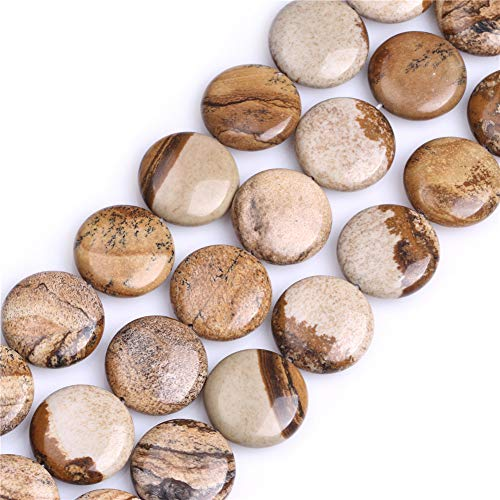 - GEM-inside Picture Jasper Gemstone Loose Beads Natural 20mm Smooth Coin Crystal Energy Stone Power For Jewelry Making 15
