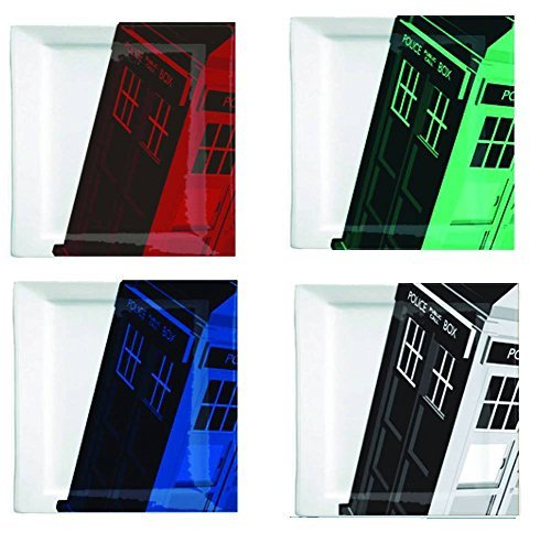 Doctor Who Plate Set - Colorful Square Dr Who TARDIS Plates - 8 x 8 inches - Set of 4 ()