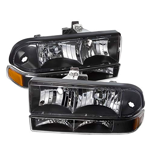For 98-04 Chevy S10 2 Piece Black Housing Pair Headlights Headlamps + Bumper Amber Reflector