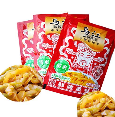 LONODEE  Chongqing Fuling Zhacai Wujiang  240g Xiafancai Preserved Mustard Strips SiChuan ZhaCai - 2.82 oz (Pack of 3) (Qingshuang)