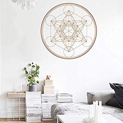 3D Wall Sticker Art Sticker Applique Mural Geometry Wall Decal Metatron's Cube Alchemy Geometric Wall Vinyl Sticker Line Circle Mandala 57X57Cm -