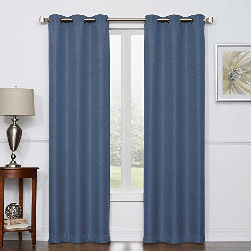 Camryn Room Darkening Grommet Top Window Curtain Panel Pair (84-Inch, DENIM)