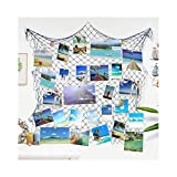 Ecjiuyi Photo Hanging Display Frames, Mediterranean Decorative Nautical Fish Net with Sea Shells and Clips for Dorm Home Wall Birthday Ocean Theme Party Decorations