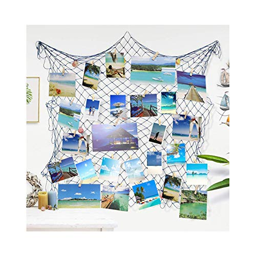 Ecjiuyi Photo Hanging Display Frames, Mediterranean Decorative Nautical Fish Net with Sea Shells and Clips for Dorm Home Wall Birthday Ocean Theme Party -