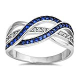 Weave Knot Blue Simulated Sapphire Fashion Ring New 925 Sterling Silver Band Size 6 (RNG15297-6)