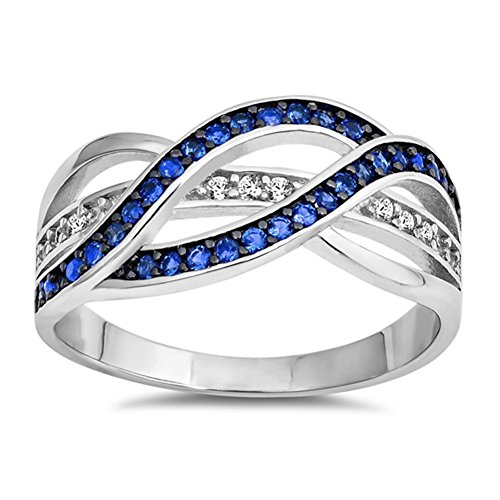 Weave Knot Blue Simulated Sapphire Fashion Ring New 925 Sterling Silver Band Size 9
