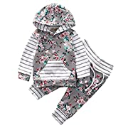 2Pcs Baby Boy Girls Hooded Pocket T-shirt Top+Floral Striped Long Pant Print Outfit Set (0-6Months, Gray&Floral)