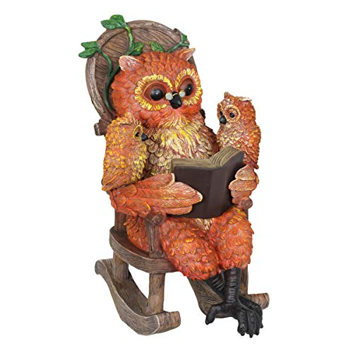 Exhart Solar Owls Reading a Book Garden Statue - Hand-Painted Resin Statue of an Owl and Owlet Reading a Storybook on a Rocking Chair - Cute Owl Decor w/Solar LED Accent Lights, 12 Inches