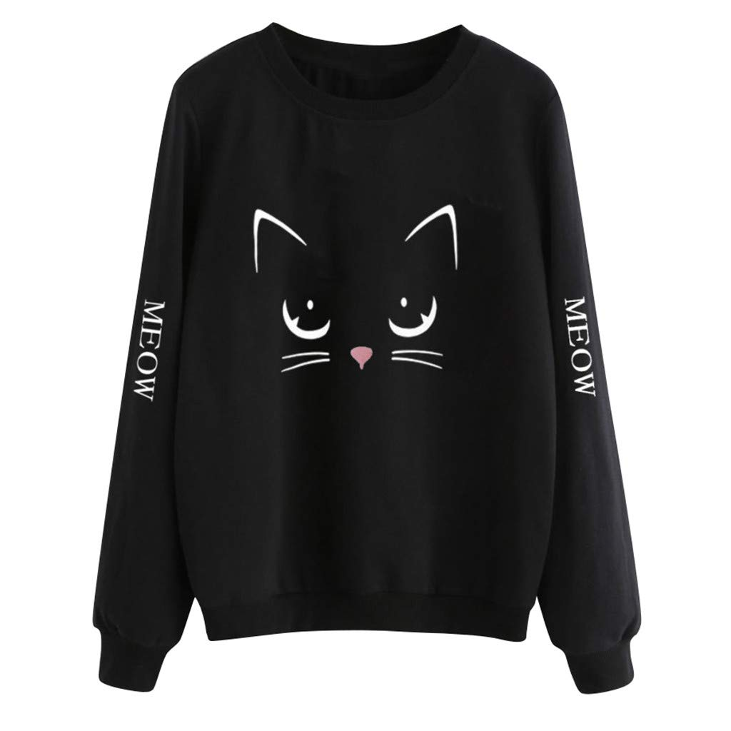 STORTO Womens Sweatshirts Cat Print Casual Long Sleeve O Neck Casual Pullover Tops