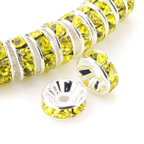RUBYCA Top Quality 100pcs 8mm Round Rondelle Spacer Beads Silver Tone Lemon Yellow Czech Crystal (Bracelets Gold Chains Glass Yellow)