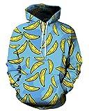 QZUnique Causal Unisex Banana Printing Pullover Hoodie Lovers Sports Sweatshirt US M