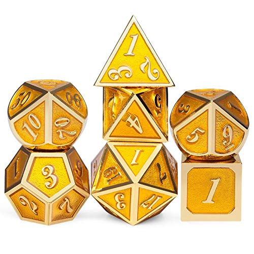 DND Gold Metal Dice Set, 7 PCS Glossy Metal Dice with Gift Metal Tin for Dice Collector Board Game Player Dungeons and Dragons Dice