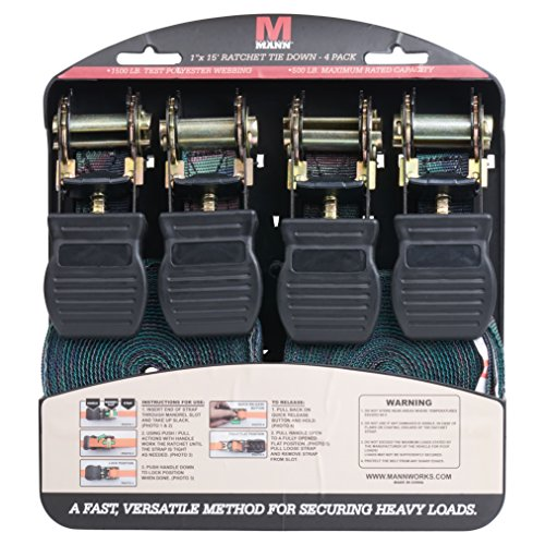 Mann Ratchet Tie Downs Straps with S-hooks 4-Pack Set 1-Inch x 15-Feet 500 Lbs Load Cap - 1500 Lb Break Strength (Camo)