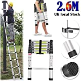 AutoFu Multi-Purpose Aluminium Telescopic Ladder With Safety Lock Extension Foldable High Quality Portable Ladders (2.6M)