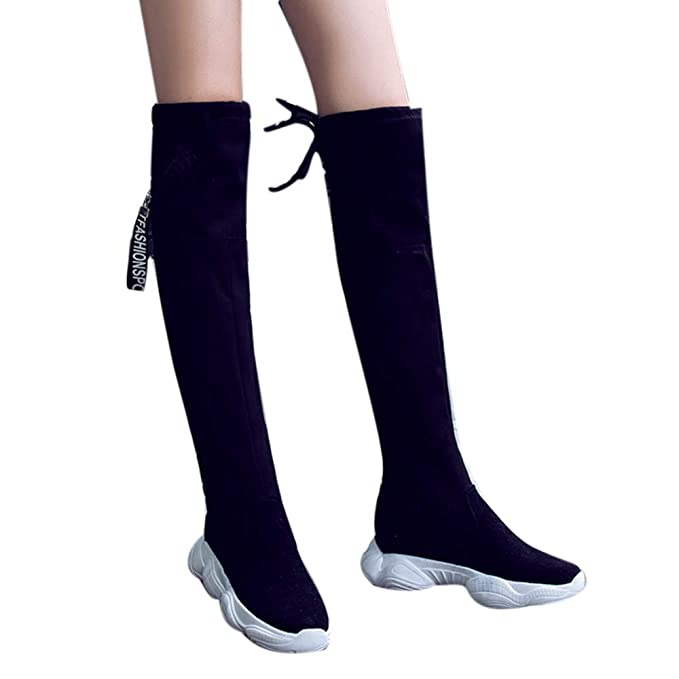 14ac2566b07b5 Challyhope Women Fashion Knee High Flat Thick Bottom Stretch Skinny Boots  Thigh High Boots Snow Shoes