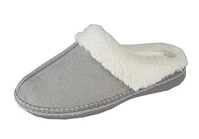 Ladies Womens Comfy Furry Boxed Mule Slippers Slip on Burgundy Navy UK 3-8