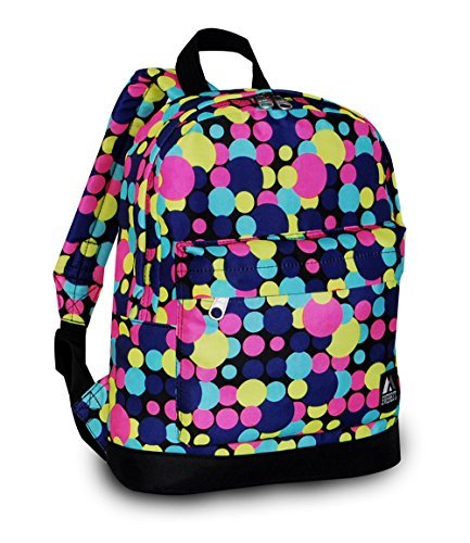 """Everest Junior Backpack, Multi Dot, One Size 4 <p>Available in a range of eye-catching colors and prints, this backpack is perfect for stylish young kids on the go. The Everest Junior Kids Backpack is made from polyester fabric and features a colorful allover print with a zip top main compartment and a zip front compartment to hold smaller items. Perfect for kids heading off to preschool or day care, this slim backpack offers a distinctive, eye-catching design that can be used to carry school supplies, art supplies, or lunch. Adjustable backpack straps and a looped top haul handle make it easy and comfortable for little ones to carry. Dimensions 10"""" x 3.5"""" x 13"""" (LxWxH) Durable compact size backpack for kids and youths Weighing in at 8.8 ounces (250g), this ultra lightweight backpack is one of the easiest things to wear and carry Easy access front pocket with hidden zipper closure Available in fun prints for the ultimate personal expression Imported</p>"""