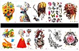 SPESTYLE 10pcs tattoo deer tattoos waterproof and non toxic real fake tattoos in 1 packages,including beautiful lady,flower with butterfly,flowers and butterflies,deer,feather,etc.