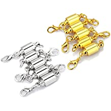 LolliBeads (TM) Barrel Style Magnetic Jewelry Clasps Findings Magnetic Lobster Clasps for Necklace 8 mm Silver/Gold Mixed 10 Sets