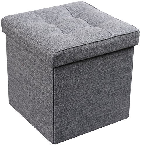 Zulera Storage Ottoman Foldable Square Padded Seat 15 x 15 Charcoal