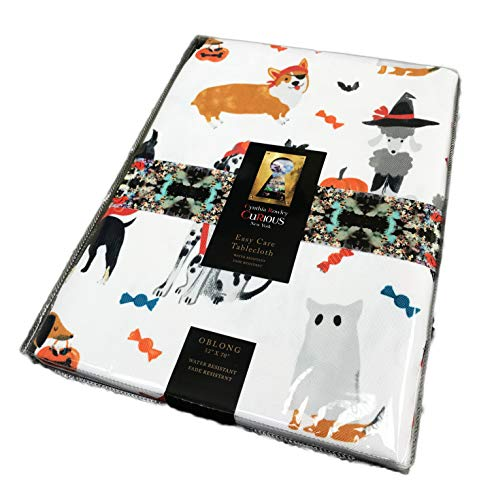 Cynthia Rowley Curious Cute Festive Dogs in Costumes Halloween Themed Oblong Tablecloth 50