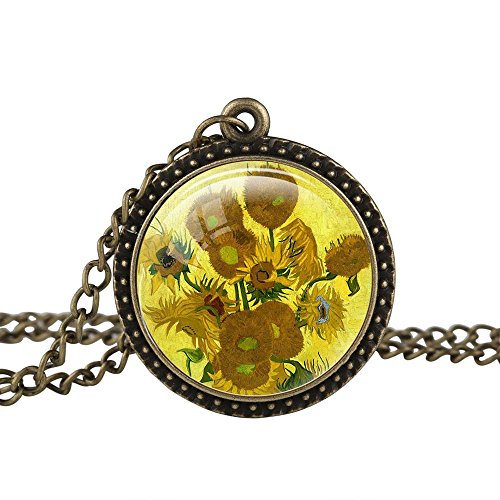 FM42 Vintage Style Sunflowers by Vincent Van Gogh Round Pendant Necklace (Sunflower Costume For Women)