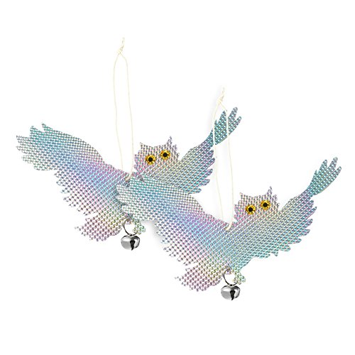 Juvale 2-Pack Bird Deterrent Reflective Owls - Bird Repellent Device Pest Control - Hanging Bird Reflectors to Keep Birds Away, Get Rid of Woodpeckers, Pigeons, Geese, Hawks, Rats and Other Pests
