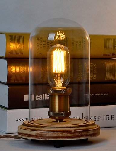 SSBY Art Deco Wooden Desk Lamps Clear Glass Lampshade Base Bulb Table Lights Wood Light Reading Lamps , - And Reading Outlet Glass China