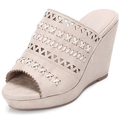 CAMEL CROWN Women's Wedge Sandals Slip-on High Heel Platform Open Toe Flip Flops Summer Slipper ()