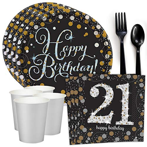 Costume SuperCenter Sparkling Celebration 21st Birthday Standard Tableware Kit (Serves 8) -