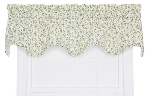 - Ellis Curtain Marcia Floral Vine Print Lined Scallop Window Treatment Valance, 70 by 16-Inch, Blue