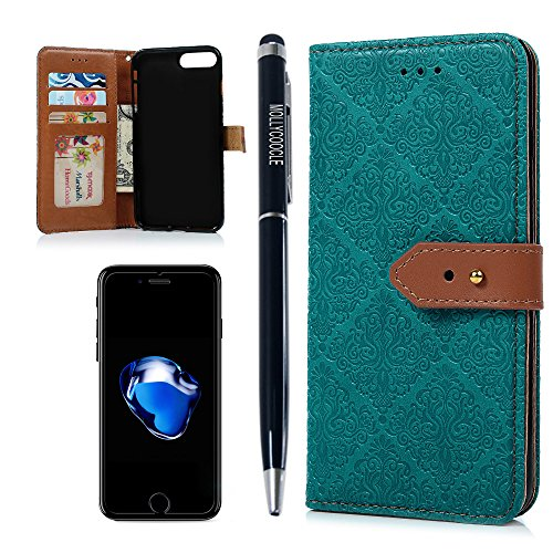 Purchase MOLLYCOOCLE iPhone 7 Plus Case, iPhone 8 Plus Case, PU leather Embossed Partten Soft TPU In...