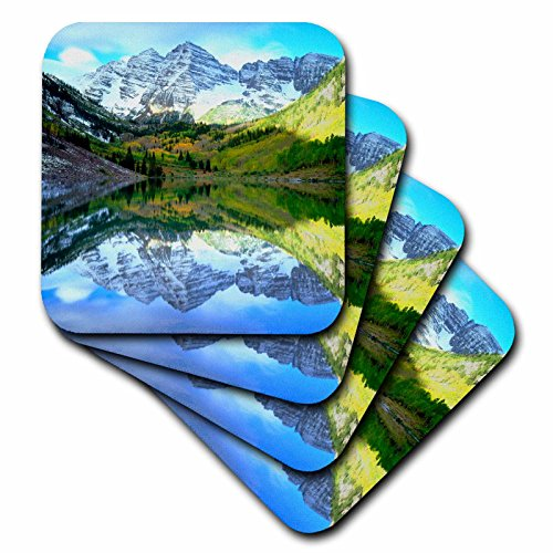 Bells Maroon (3dRose USA, Colorado. Rocky Mountains, Maroon Bells Reflect in Maroon Lake. - Soft Coasters, Set of 4 (CST_207843_1))