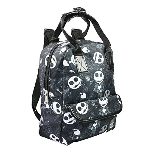 Disney Nightmare Before Christmas Jack Skellington Allover Print 12 inch Small School Backpack - Black -