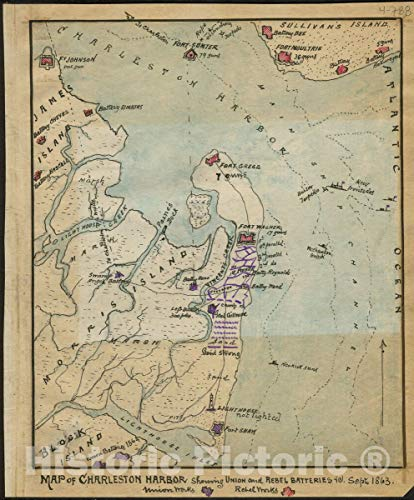 Historic 1863 Map | Map of Charleston Harbor Showing Union and Rebel Batteries Septr. 1863. 44in x 53in