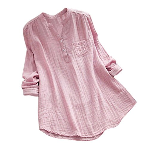 (Rambling New Women Stand Collar Long Sleeve Casual Cotton Loose Soft Tunic Tops T Shirt Blouse Plus Size Pink)