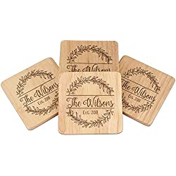 Personalized Beach Wedding Coasters Favors, Beer Coasters for Drinks - Coasters Set of 4