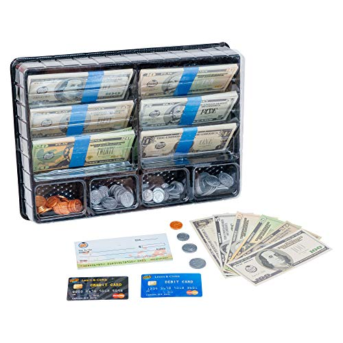 Learn & Climb Play Money Set for Kids – Realistic Dollar Bills, Coins, Credit & Debit Cards & Checkbook. Add-on for Pretend Play Cash Register ()